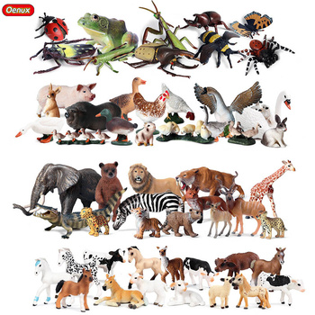 Oenux Zoo Set Simulation Animals Wild Lion Tiger Insect Action Figure Farm Poultry Horse Cow Pig Figurines Model Educational Toy