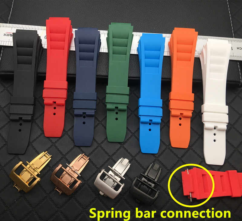 Soft Nature Silicone Rubber 25mm Watchband For Richard Watch Mille Strap band Bracelet butterfly buckle for spring bar series