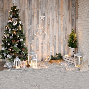 Christmas Backdrop Photography Star Lantern Tree Bulb Light Wood Floor Carpet Baby Party Photo Background Photocall Photo Studio