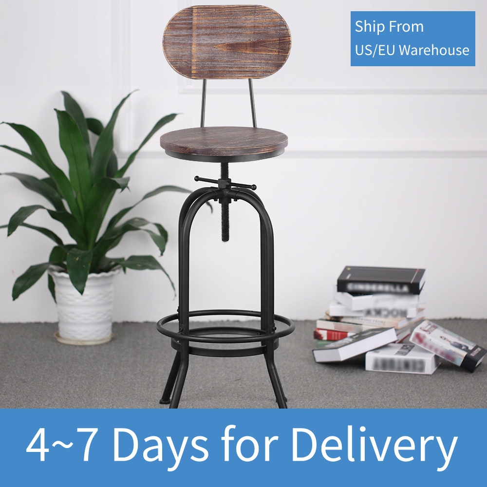 IKayaa Industrial Style Bar Chairs Height Adjustable Swivel Bar Stool Kitchen Dining Chair Pinewood Top + Metal With Backrest