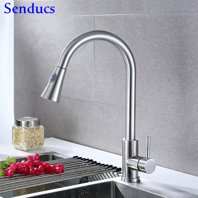 Kitchen Mixer Tap Senducs Brushed Pull Down Kitchen Faucet SUS304 Stainless Steel Kitchen Sink Faucet Hot Sale Kitchen Taps
