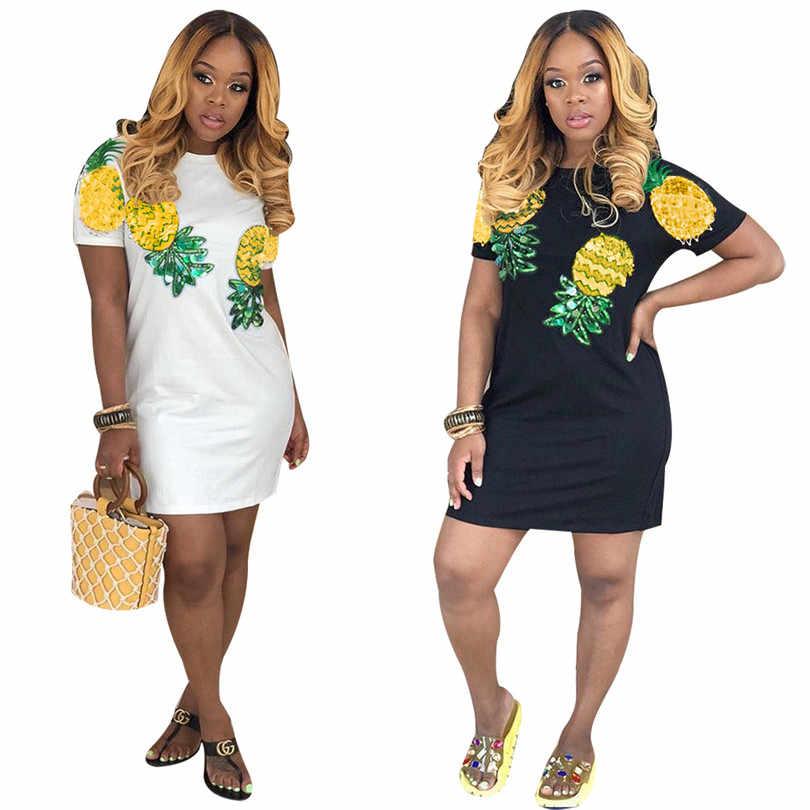 Летние облегающие мини-платья в полоску с ананасовыми фруктами и блестками, карандаш с коротким рукавом, вечерние платья с блестками для женщин, S3638