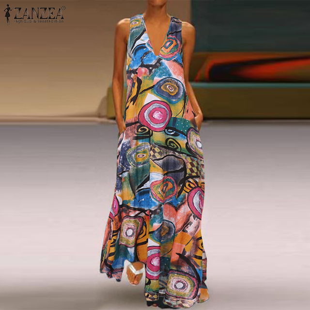 Kobiety V Neck Sundress ZANZEA 2020 jesień Maxi długa sukienka w stylu Vintage z długim rękawem Vestido Floral wydrukowano Party luźna tunika szata Femme