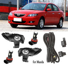 Светодиодный фонарь светильник s для Mazda 3 M3 2003-2010 1.6L туман светильник головной светильник светодиодный передний бампер туман светильник тум...