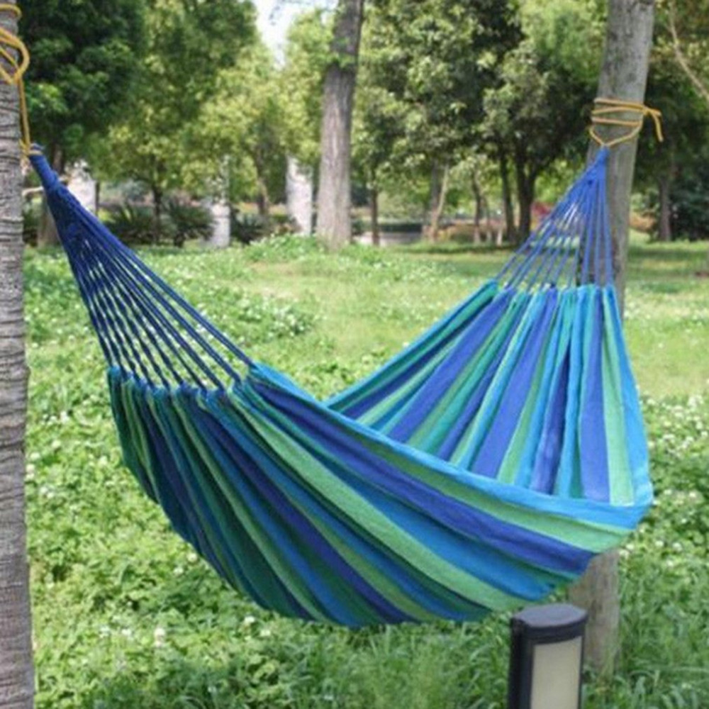 280*80cm 2 Persons Striped Hammock Outdoor Leisure Bed Thickened Canvas Hanging Bed Sleeping Swing Hammock For Camping Hunting