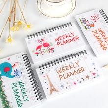 Flamingo caderno desenhos animados 2021 agenda semanal planejador mensal kawaii libreta planificador semanal carnet bloco de notas cahier escolar