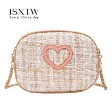 ISXTW Women's light luxury messenger bag Flap for Women fashion love metal buckle crossbody bag wild trend shoulder bag / A64 недорого