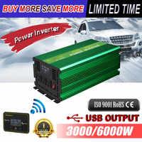 Renoster wireless lcd inverter 12V 220V 3000W modifizierte sinus welle konverter mit fernbedienung power inverter für camping van