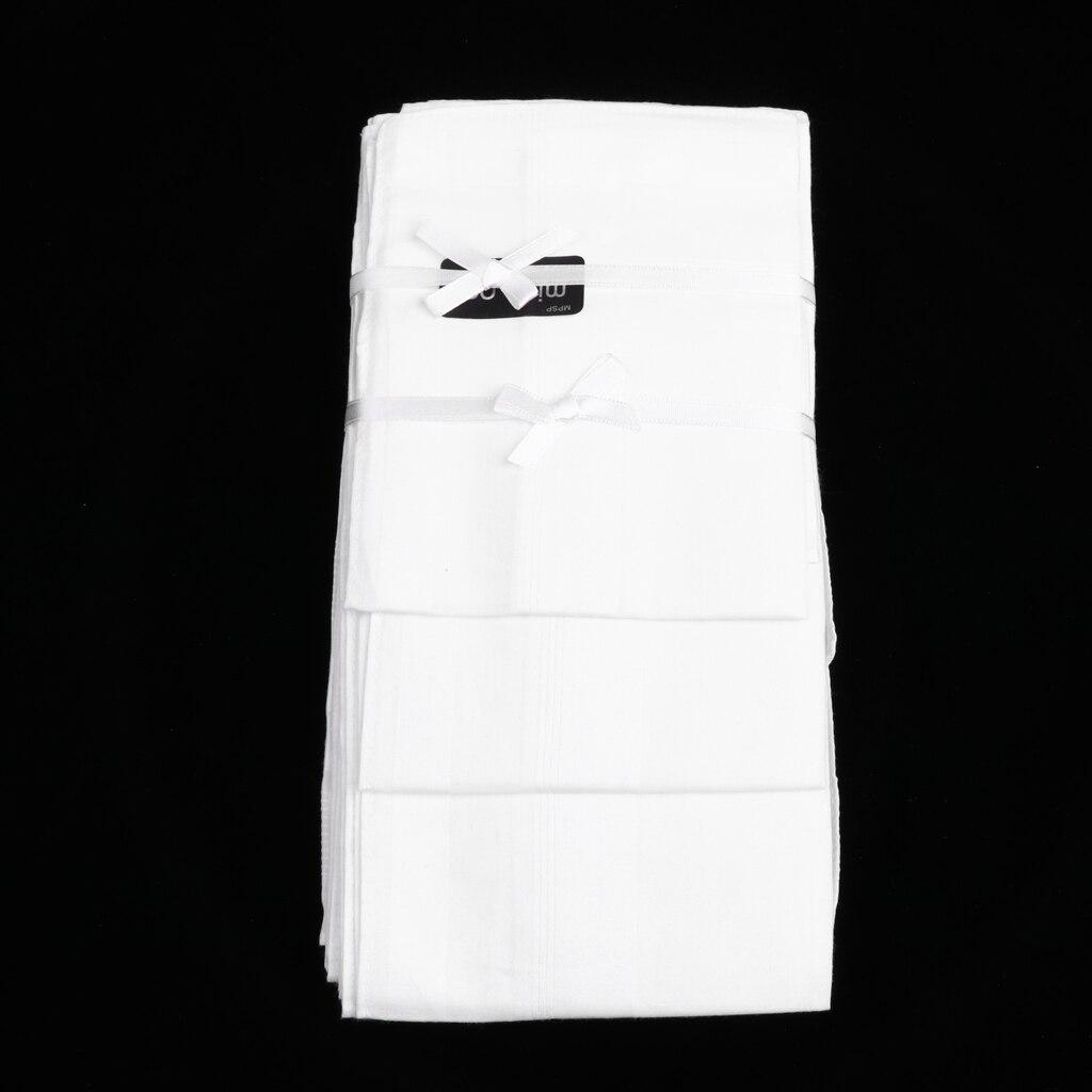 12pcs Plain White Striped Square Hanky Men Handkerchief 100% Cotton 43*43cm