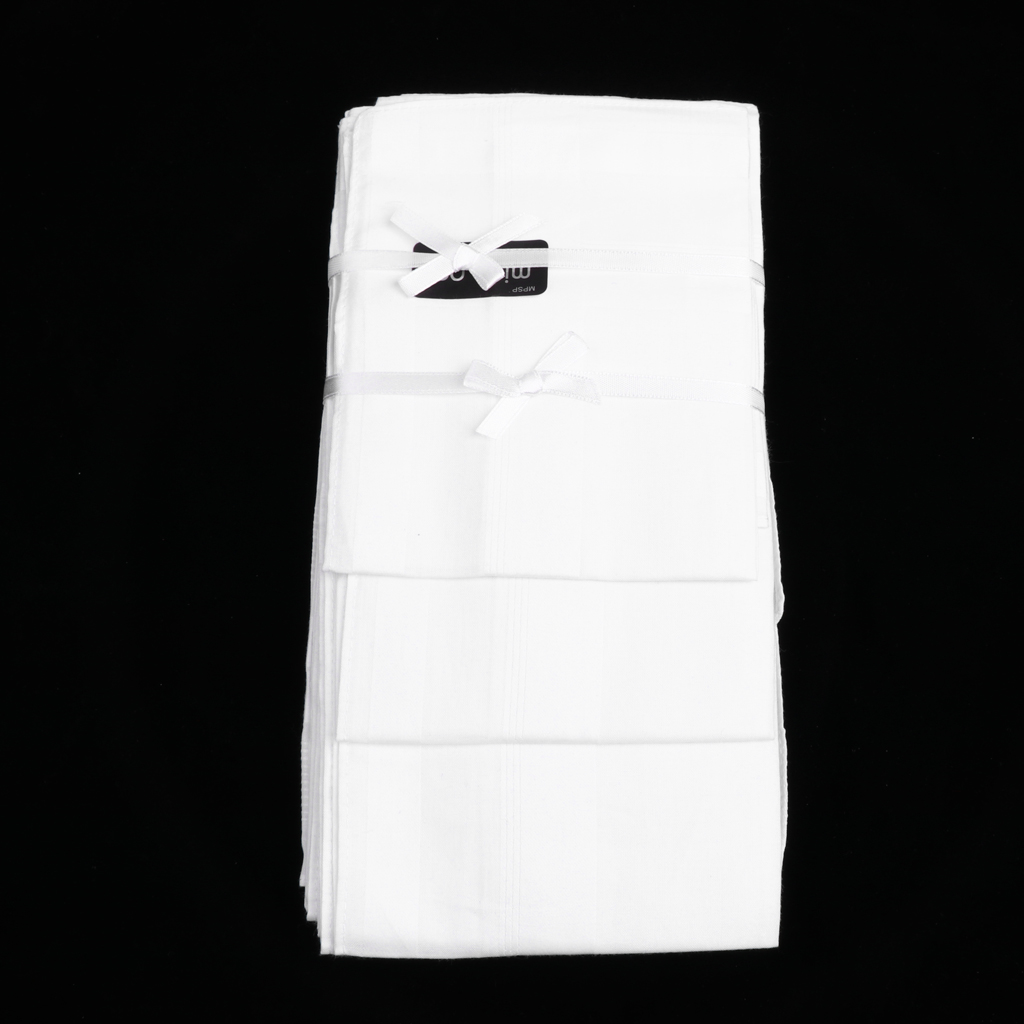 PURE SOFT COTTON PLAIN HANKIES HANDKERCHIEF GIFT FOR MEN/'S 12pcs