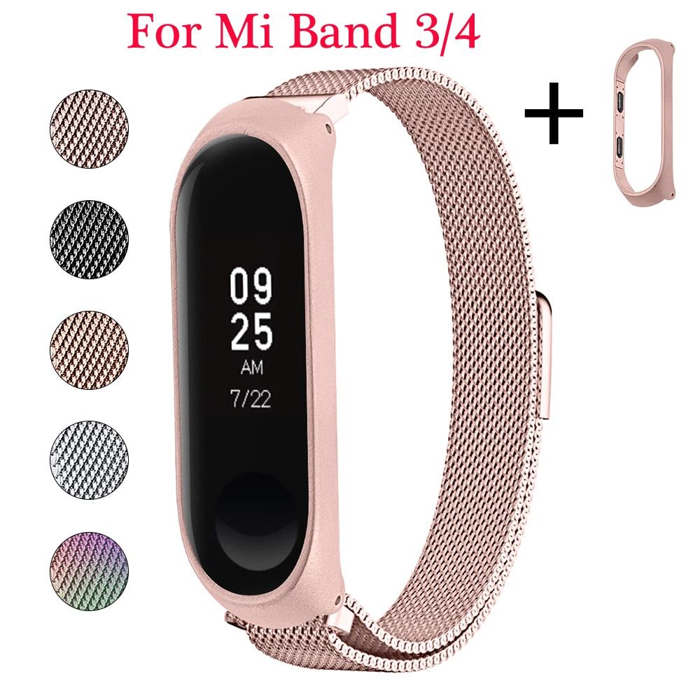 OULUCCI Stainless Steel Bracelet For Xiaomi Mi Band 4 Strap Metal Wrist Strap For Xiaomi Mi Band 3/4 Strap Mi Band 4 Bracelet