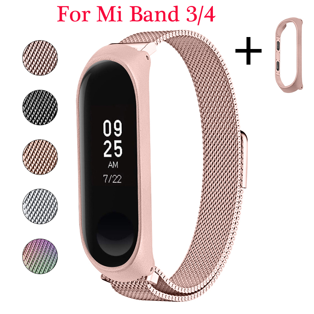 OULUCCI Stainless Steel Bracelet For Xiaomi Mi Band 4 Strap Metal  Wrist Strap For Xiaomi Mi Band 3/4 Strap Mi Band 4 Bracelet