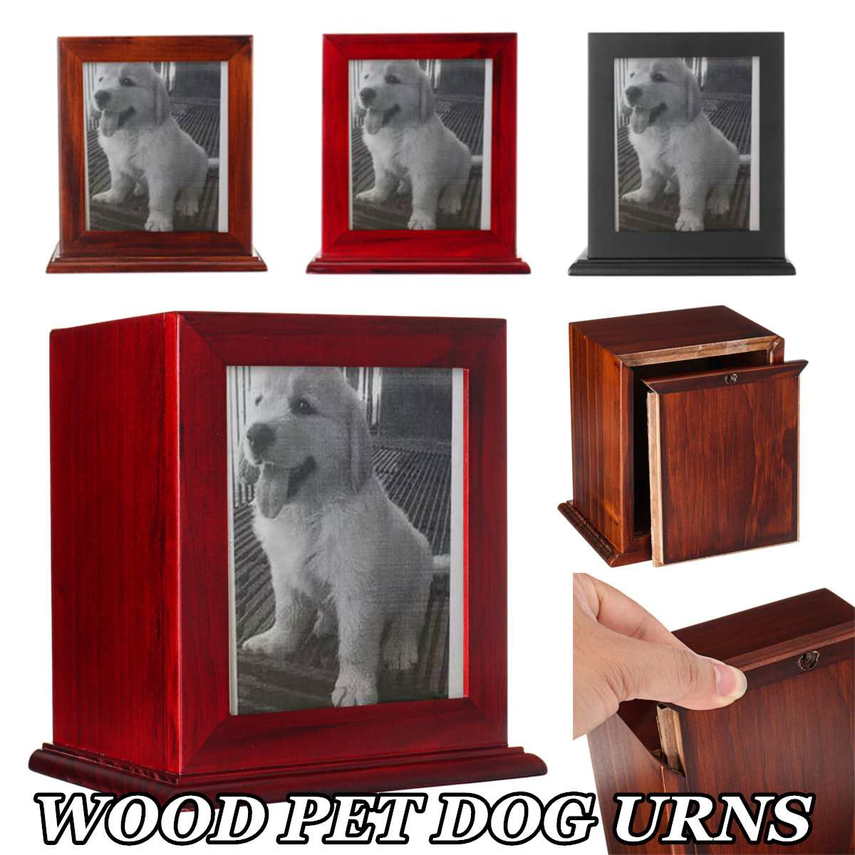 Simple Photo Frame Wood Pet Cremation Urn for ashes Perfect Resting Place Dog Cat Cremation Urn Peaceful Memorial Photo