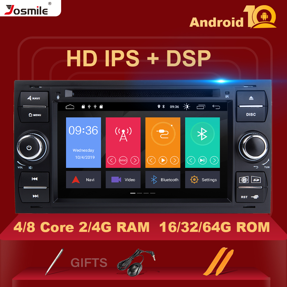 8 Core 4 G RAM IPS DSP Android 10 Car Radio <font><b>Multimedia</b></font> For <font><b>Ford</b></font> <font><b>Focus</b></font> 2 3 <font><b>mk2</b></font> Mondeo 4 Kuga Fiesta Transit Connect S-MAX C-MAX image