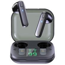 V5.0 sem fio bluetooth fone de ouvido hd estéreo negócios esportes fone de ouvido à prova ddual água com microfone duplo com caso carga da bateria