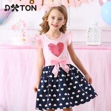 DXTON 2020 Одежда для девочек, новые летние платья для девочек, платье принцессы с летающим рукавом, платье с блестками и сердцем для девочек, пов...