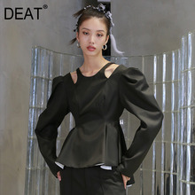 Top-Coat DEAT Puff-Sleeve Lace-Up Backless Ruffles Autumn High-Waist Women Fashion Casual