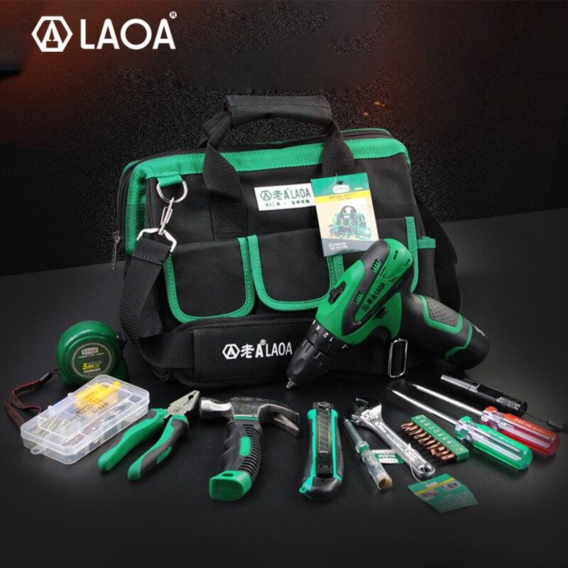 큰 판매 LAOA 35pcs 전동 공구 세트 룰렛 펜치와 12V 리튬 이온 전기 드릴 스크루 드라이버 해머 나이프 손전등