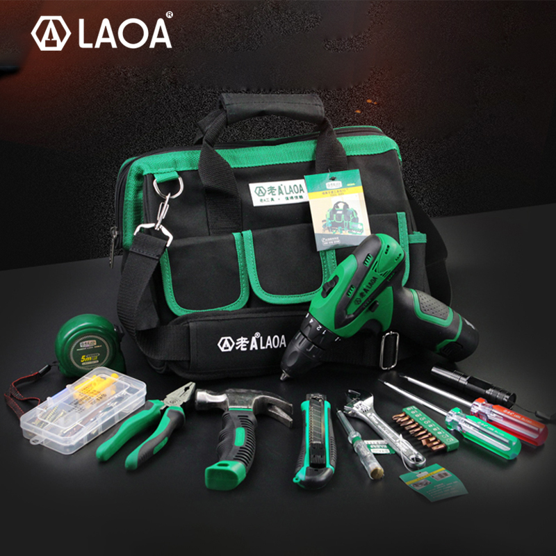 BIG SALE LAOA 35pcs Power Tool Set 12V Li-ion Electric Drill Screwdriver With Roulette Pliers Hammer Knife Flashlight