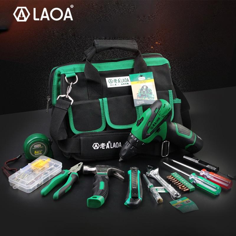 BIG SALE LAOA 35pcs Power Tool Set 12V Li-ion Electric Drill Screwdriver With Roulette Pliers Hammer Knife Flashlight