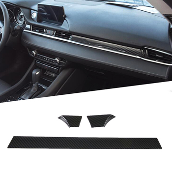 Carbon Fiber Style Car Interior Front Console Dashboard Cover Trim Sticker Mouldings Strip 3PCS  For Mazda 6 Atenza 2019 2020