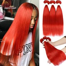 Red 99J mechones de pelo liso Borgoña extensiones de pelo ondulado mechones, extensiones de cabello humano rojo, Remy Pinshair, 1/3 Uds.