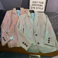 New celebrity paragraph with spring 2020 covered in sequins color gradient designer long sleeve jackets grid