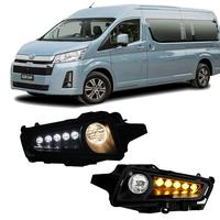 M&C For Toyota Hiace Commuter GL/H300 2019 2020 2PCS Car Front Bumper Fog Light+DRL+Yellow Turn Signal Light Accessories