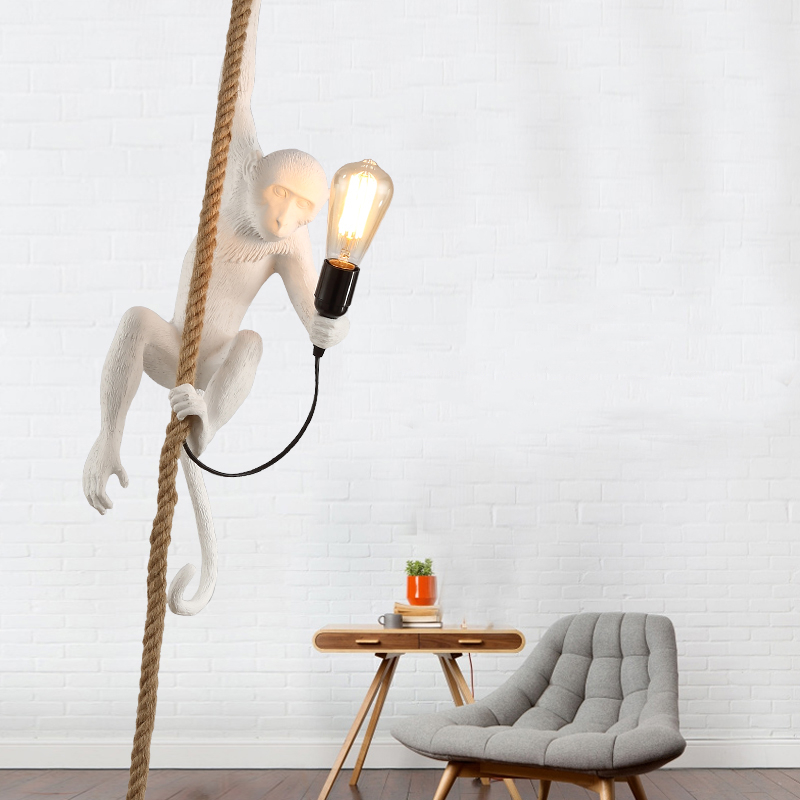 Modern Monkey Lamp Resin Pendant Lights Retro LED E27 Kids Room Bedroom Cafe White Pendant Lamp Lighting Kitchen Light Fixtures