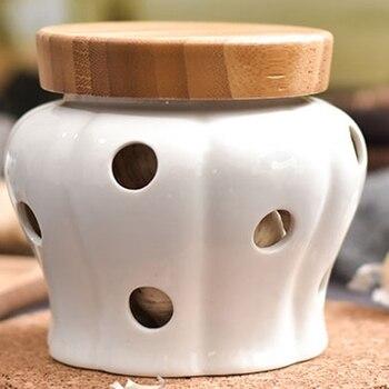 Caliente 1 unid redonda de ajo jengibre cerámica tarros de almacenamiento tarro contenedores con tapas de bambú a ajo sellado jengibre de cocina