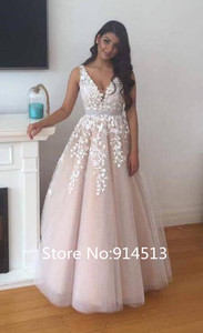 Image 2 - Long V Neck Lace Applique Wedding Dresses 2020 with Tulle Train for Bride vestido de noiva A Line Custom Made