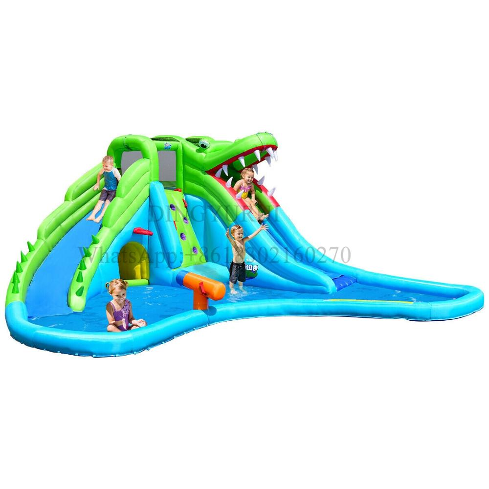 Inflatable Slide PVC Water Slide Kids Outdoor Water Game Crocodile Bounce Combo with Pool