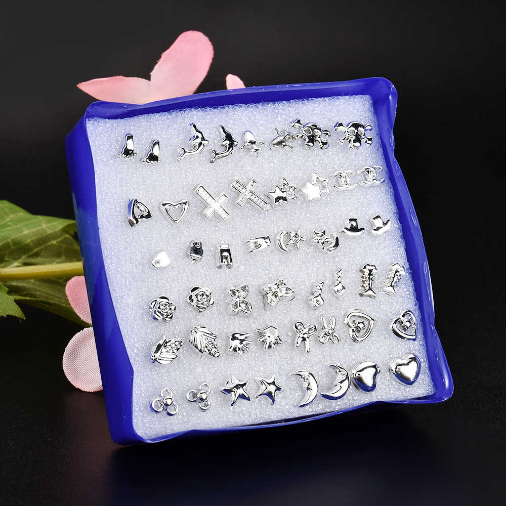 24 Pair/ Set Wholesale Silver Fashion Unisex Mix Styles Stud Earrings Women Men Metal  Plated Stud Earrings Jewelry