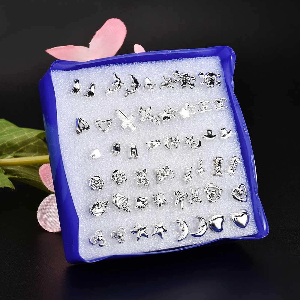 24 זוגות\סט סיטונאי כסף אופנה יוניסקס לערבב סגנונות Stud עגילי נשים גברים מתכת מצופה עגילי תכשיטים