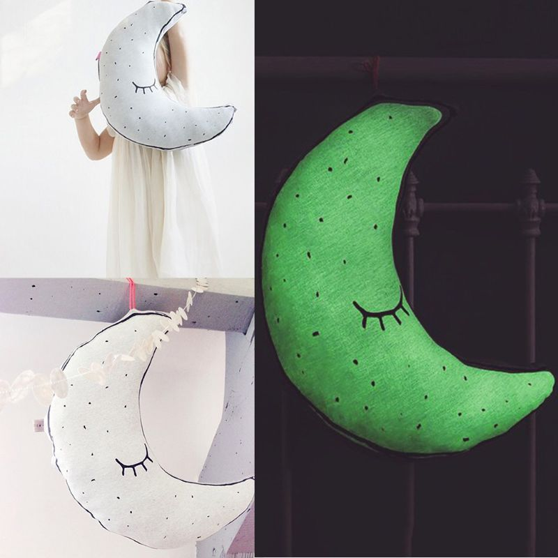Moon Shape Luminous Doll Pillow Children Room Decoration Cushion Baby Kids Comfort Pillows U50F