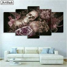 ArtBack five spell diamond painting skull flower 5d full square mosaic sticker decorative