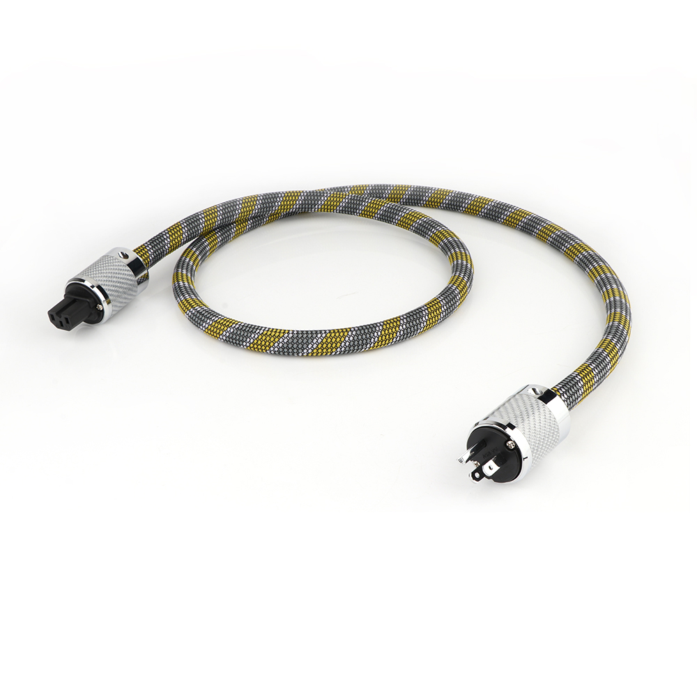 Yter FP-3TS20 Audio 6N OCC câble d'alimentation ca avec fiber de carbone plaqué Rhodium