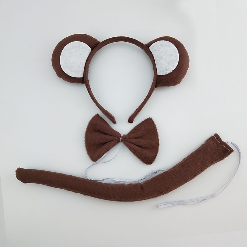 Children Adult Party Monkey Animal Ears Headband Tail Tie Set Animal Cosplay Halloween Costume For Kids Birthday Gift