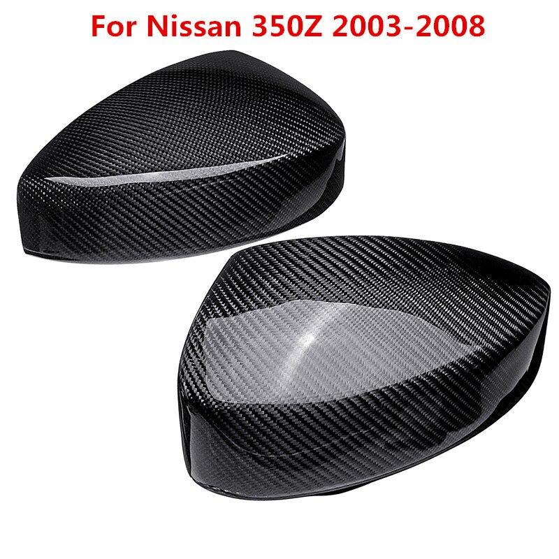 2PCS Carbon Fiber Side Mirror Cover Cap for Nissan 350Z 2003-2008 Mirror Cover Sticker Trim Car Accessories