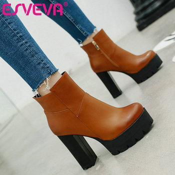 ESVEVA 2020 Elegant PU Leather Western Style Women Shoes Winter Ankle Boots Pointed Toe Zipper Square High Heel Boot Size 34-43