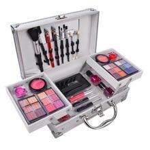 Aluminum Box Make Up Set Cosmetics Kit Nude Eyeshadow Lipstick Lipliner Eyeliner Pencil Lip Gloss Blush Brush Powder Nail Polish