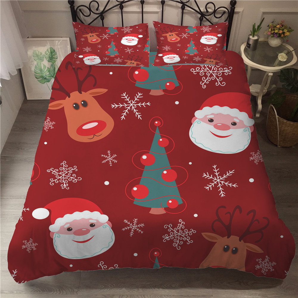 MEI Dream Sisha Claus And Christmas Tree Bedding Set 3D Printed Duvet Cover Bed Set Home Textiles For Kids