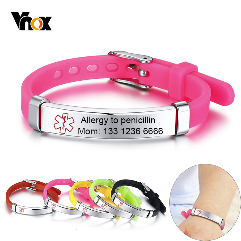 Vnox Customized Kids Medical Alert ID Bracelets For Boys Girls Anti Allergy Stainless Steel Silicone Personalize Emergency Info.