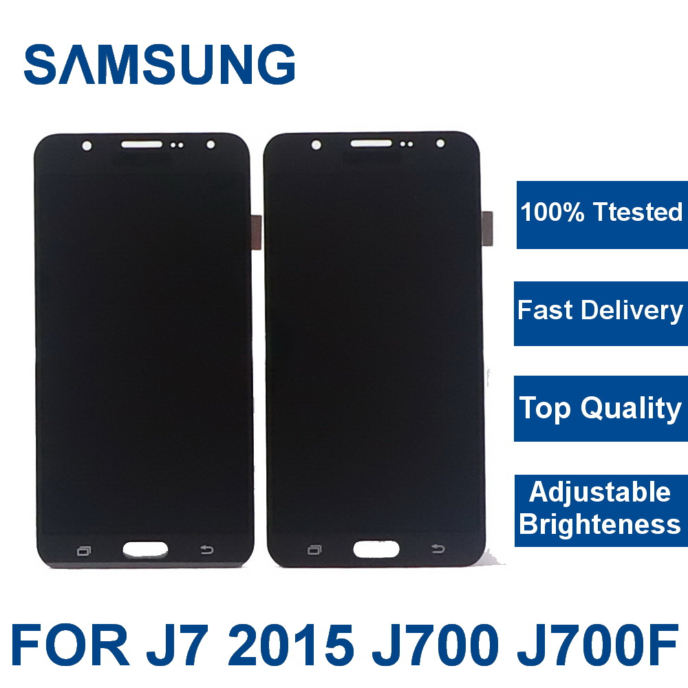 100% Tested Working For Samsung Galaxy J7 2015 J700 SM-J700F J700H J700M J700K Phone LCD Display Screen Touch Digitizer Assembly