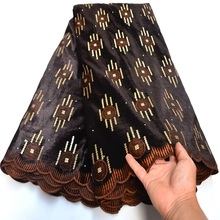 Lace-Fabric Dress Stone Sequins Velvet Nigerian French High-Quality Brown with And