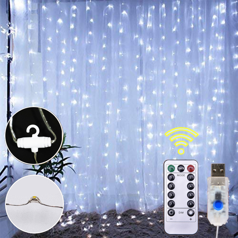 3Mx2M 3Mx1M Led Waterproof Copper Wire Curtain Light 3Mx3M Fairytale Dream String Lights Background Decoration For Livingroom