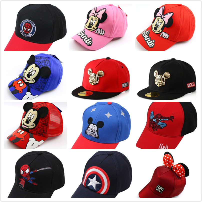 Mickey Cap Baseball Cap For Boy Girl Cartoon Minnie Hip Hop Caps Cute Anime Hat Winter Summer Hat Casual Snapback Gorra Cotton