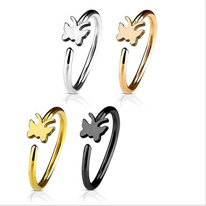 New Trendy Surgical Steel Butterfly Star Heart Nose Rings Women