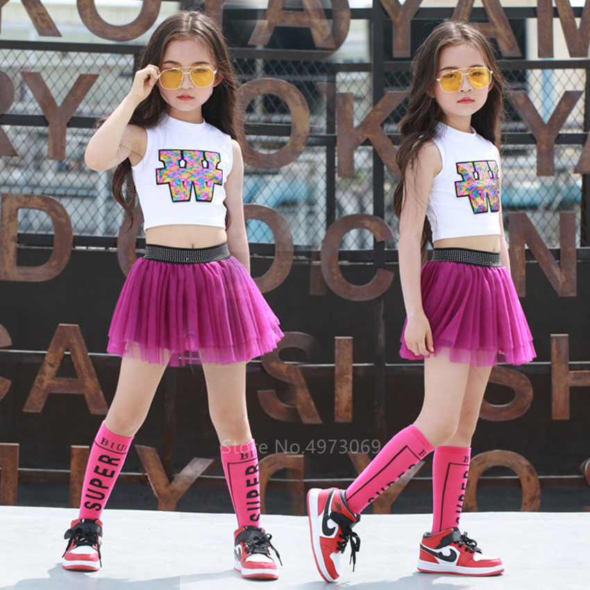 110-160CM Kids Cheerleader Competition Set Baby Girls Fancy Competition School Gymnastics Dance Wear Costume Top Skirt Pants Set