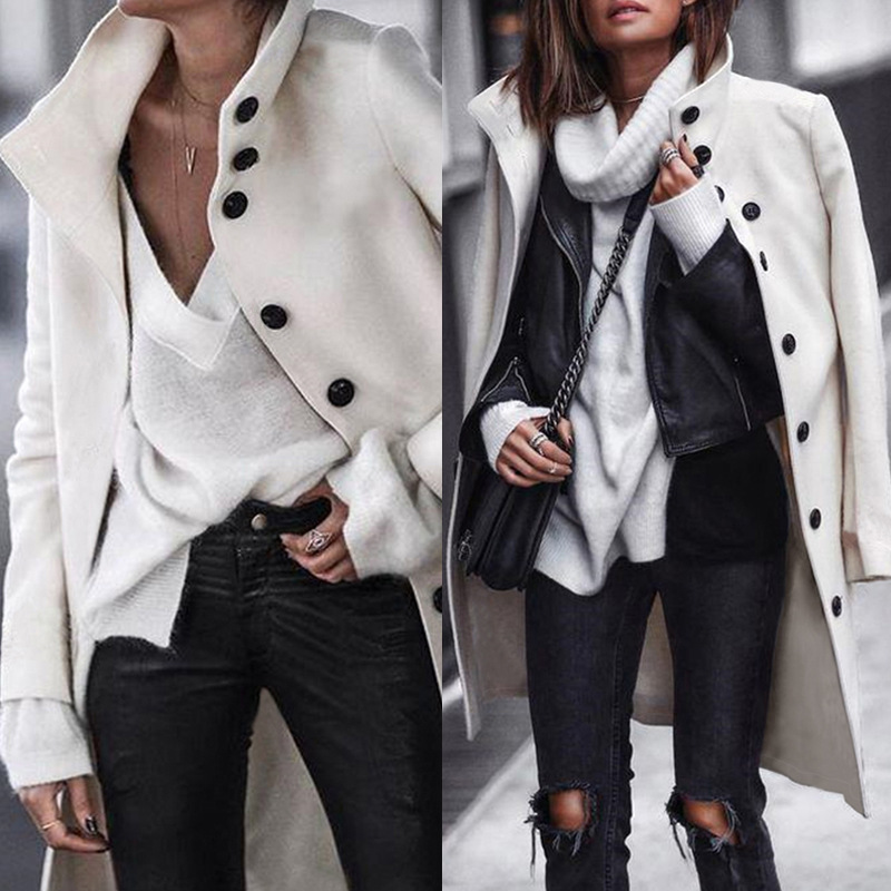Lugentolo Women Long Coat Wool Autumn Winter Fashion Casual Black White Solid Single-breasted Street Trend Turn-down Collar Coat 13